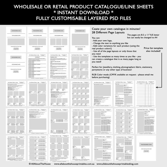 Catalogue template, wholesale, retail, pricing, product line sheet