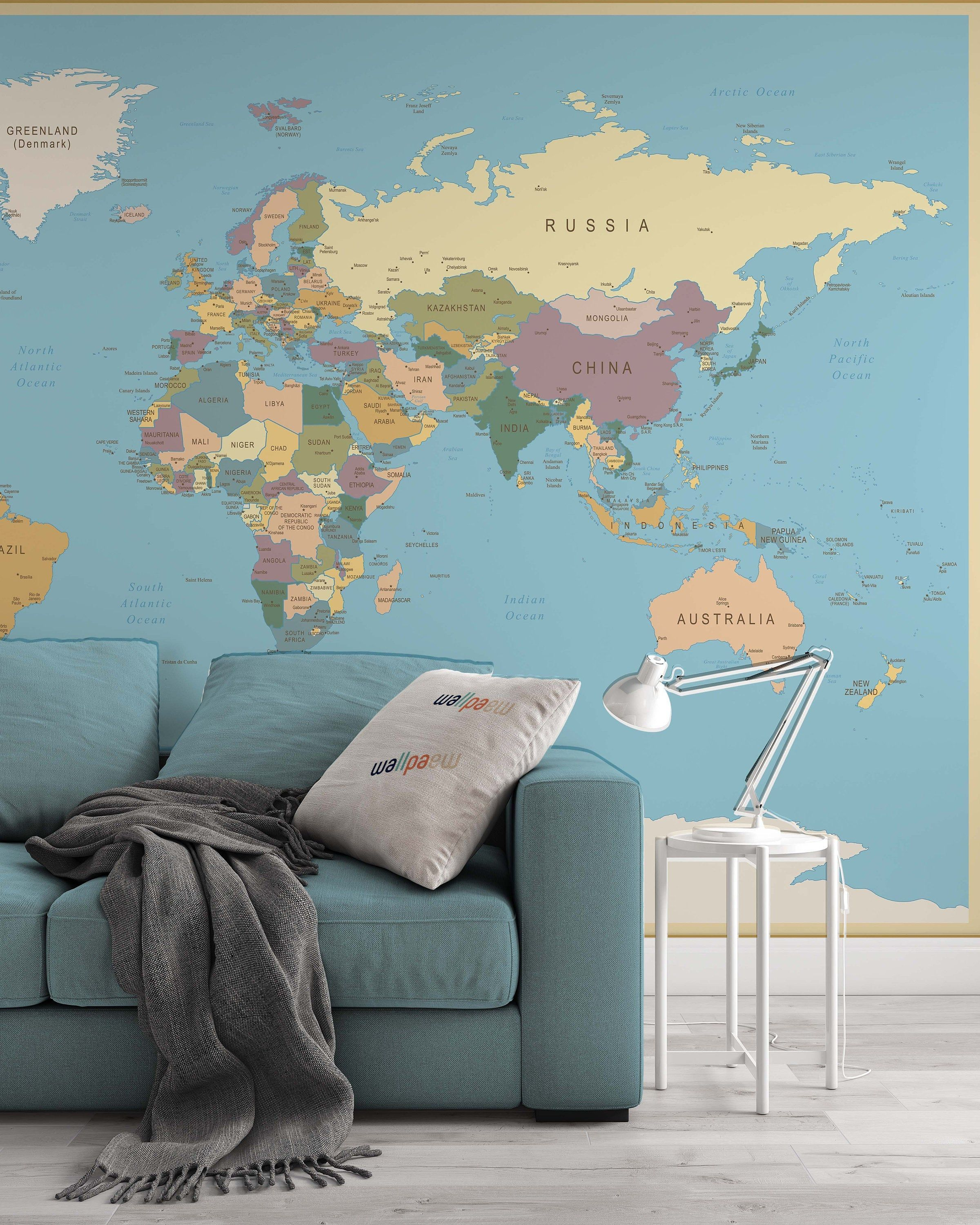 Travelling Vintage World Map Wallpaper Self Adhesive Peel And Etsy Living Room Murals Map Wall Art Bedroom World Map Wallpaper