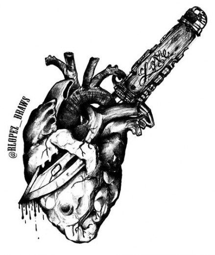 Realistic Knife In The Heart Drawing: 53 Ideas Tattoo Heart Knife Art #tattoo