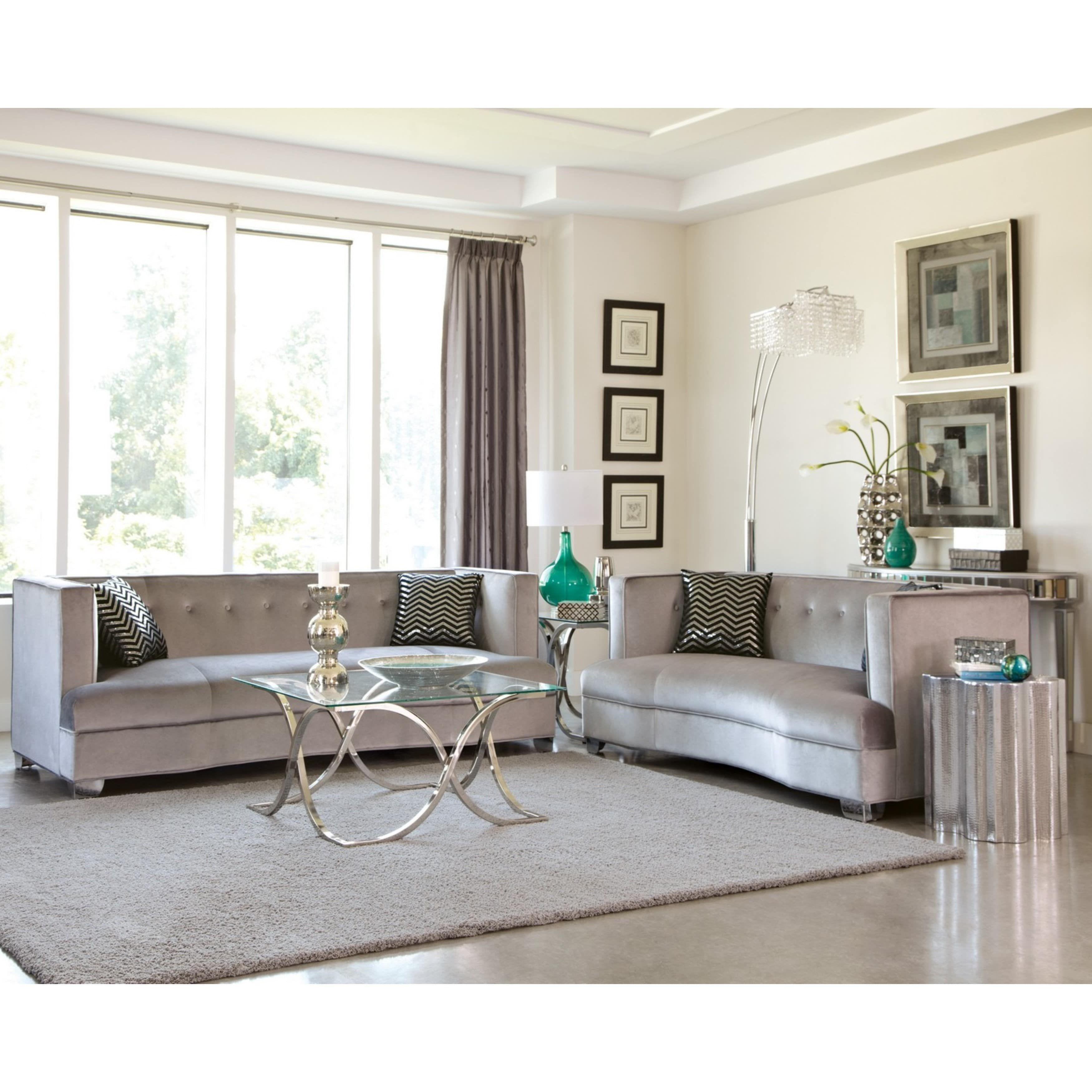 Modern design traditional influenced silver velvet living room sofa collection 1 sofa 1 loveseat