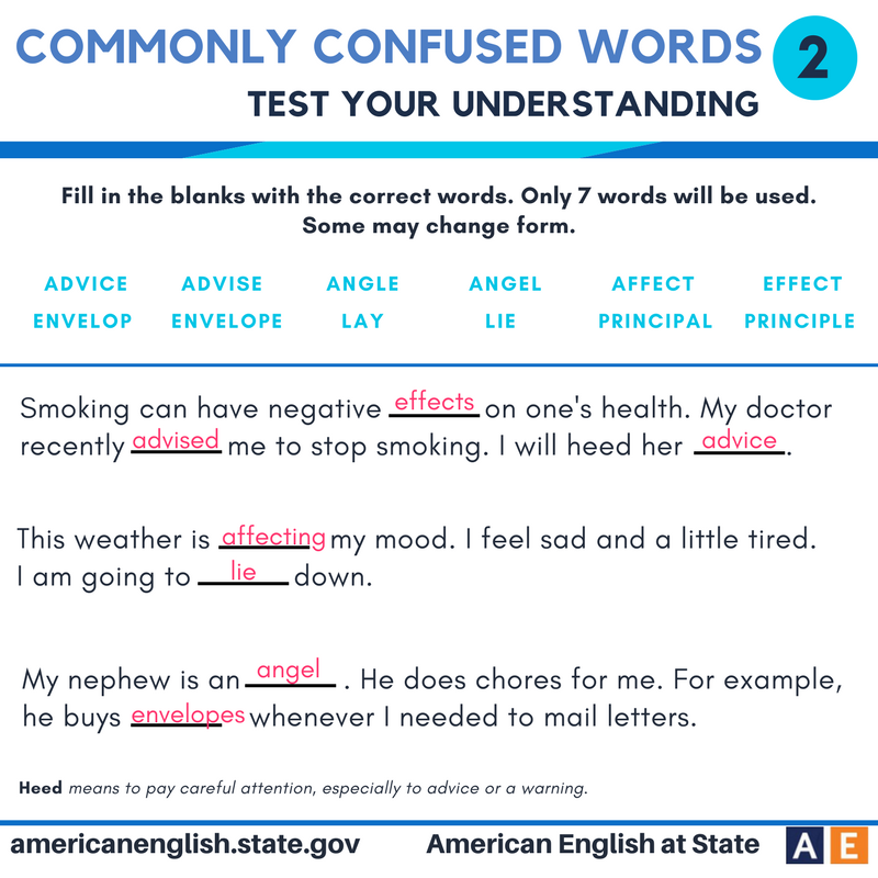 Commonly confused words - Test your understanding 2 - Answers