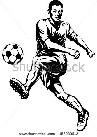 Soccer Football Player In Motion Vector Illustration Football Player Drawing Soccer Football Players