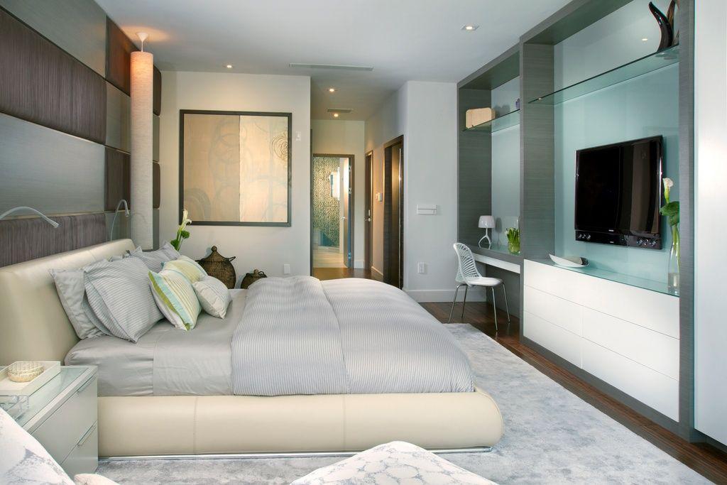 contemporary master bedroom with built in desk glass shelves rh pinterest com Master Bedroom with Desk Master Bedroom with Desk Area