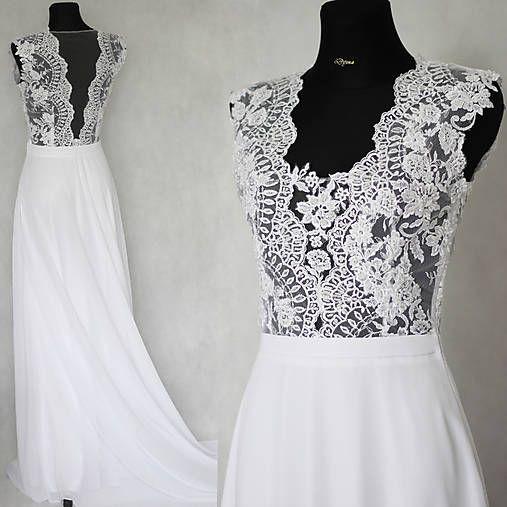 eb8eb17fa757 Svadobné šaty s transparentným živôtikom   Dyona