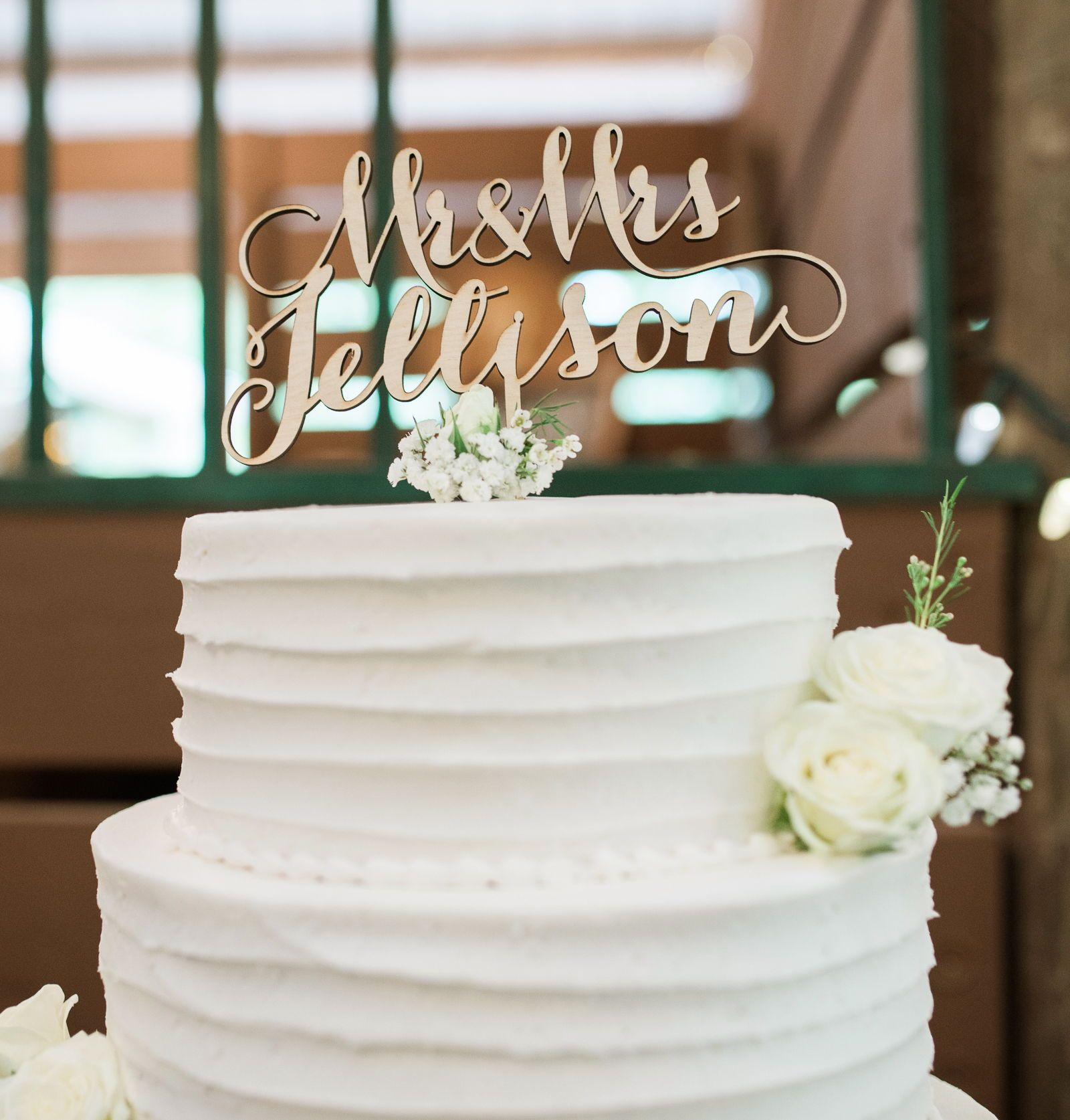 Wedding cake topper personalized mr u mrs last name gold or wood