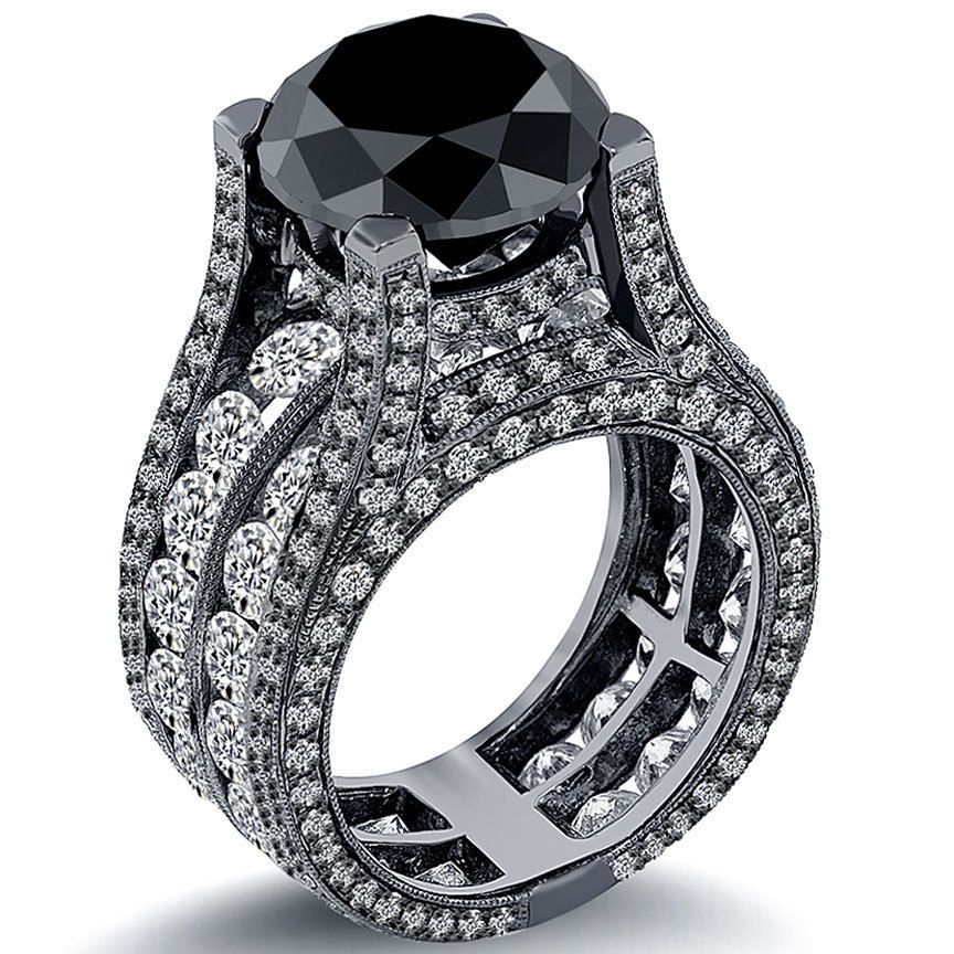 12.63 Ct. Black Diamond Engagement Ring 14k Black Gold ~ Watch LIVE Video ~ NEW #LioridiamondsTM #BDR075
