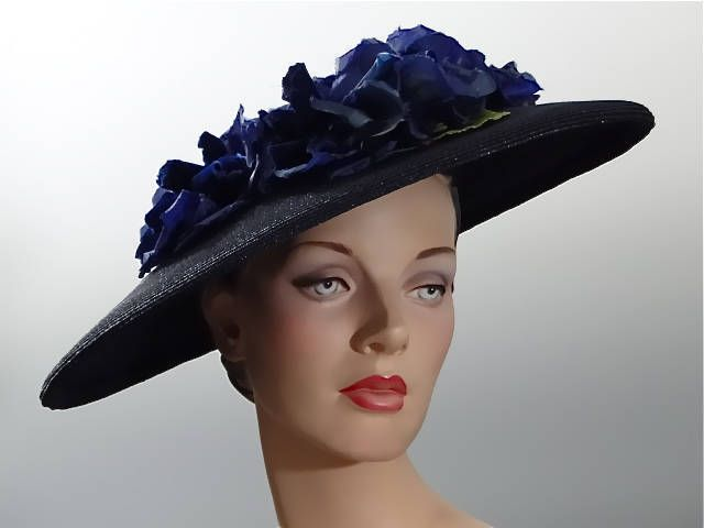 1950 s Navy Straw Wide Brim Cartwheel Hat with Large Royal Blue Velvet  Millinery Flowers - Vintage Hat Designer Janyth Roy NY by SueEllensFlair on  Etsy db3fe6168e8f