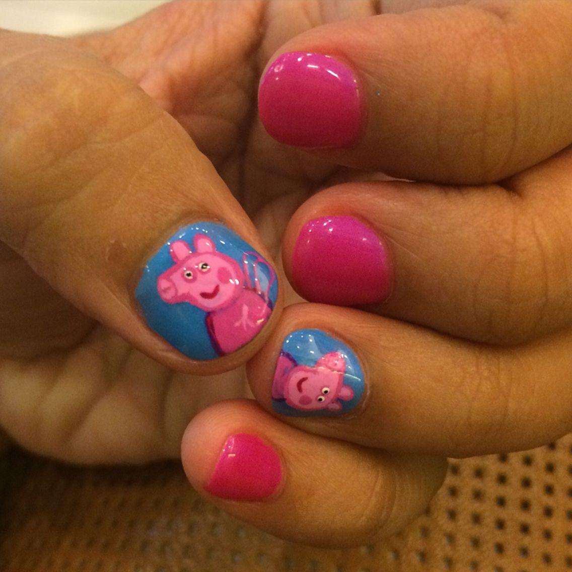 Peppa pig nail art | Reilly 1st birthday | Pinterest | Pig ...