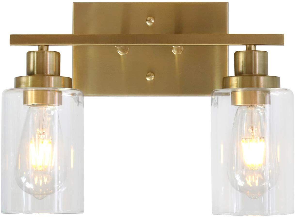 Amazonsmile Melucee 2 Light Wall Sconce Brass Vanity Light