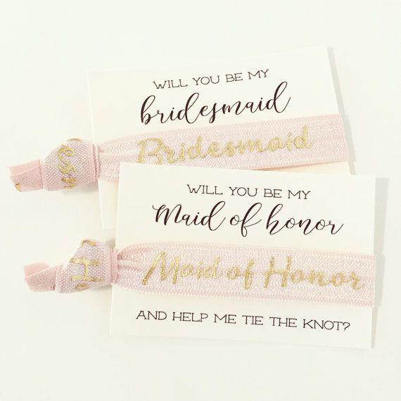 Party Proposal Unique Bridal Party Proposal Hair Tie Cards  Pale Blush Pink  Gold Bridal .