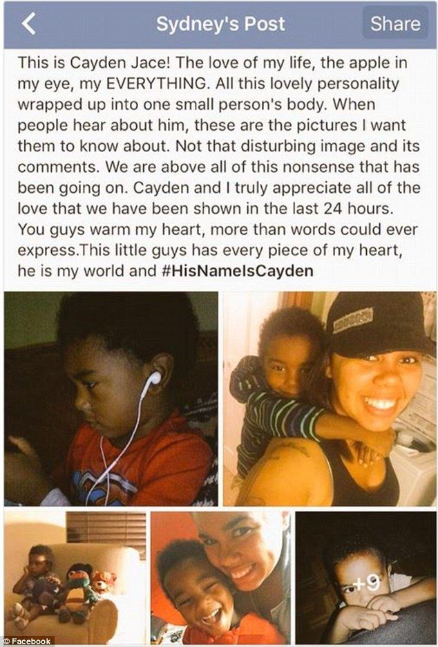 Speaking out: Cayden's mother Sydney Shelton decided to identify her son following the online infamy and posted this