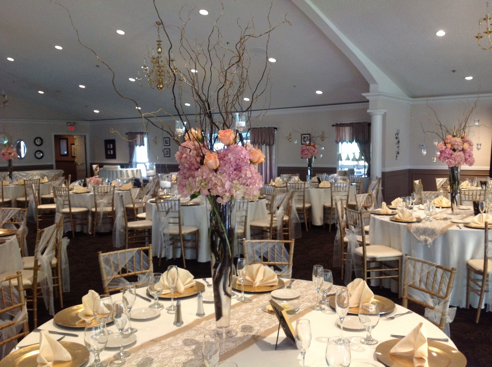 Tall wedding centerpieces with pink hydrangea peach roses for Tall wedding centerpieces with branches