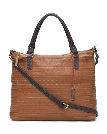 5fef8d48db10 IL DUCA Made In Italy Multi-stitch Leather Satchel