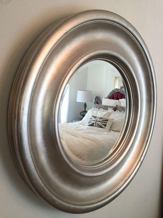 Large Silver Foil Round Mirror 42 Inch Frame Custom Elegant Wall Hanging