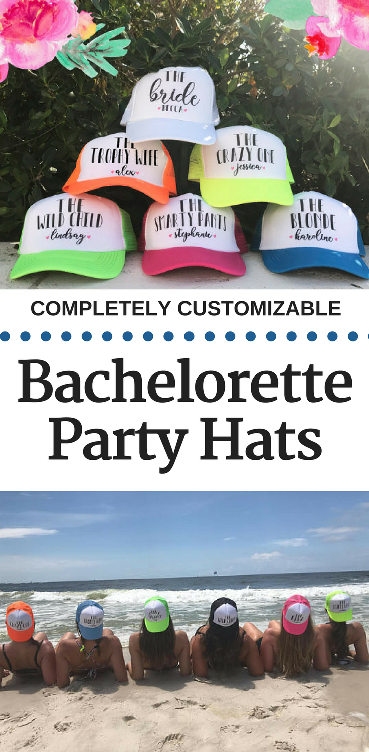 These fun Bachelorette Party Hats are a great gift for each of the girls. The funny one, the blonde one, the smart one, whatever they are, they can wear  it proudly. #ad #bachelorette #wedding
