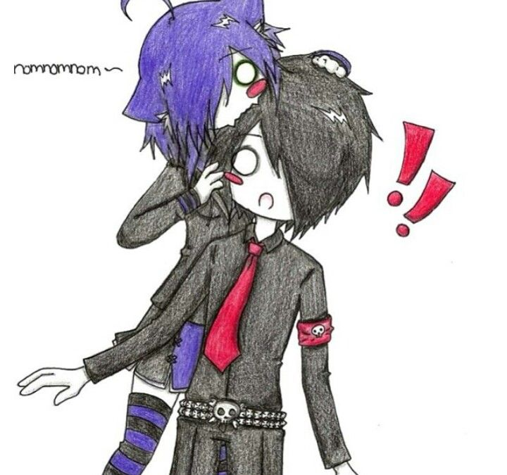 Cute anime that is probably an emo couple i like it - Dark anime couples ...