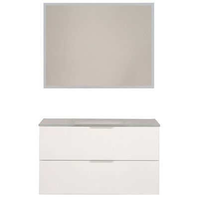 "Parisot Luxy 36"" Single Bathroom Vanity Set with Mirror Base Finish: White"