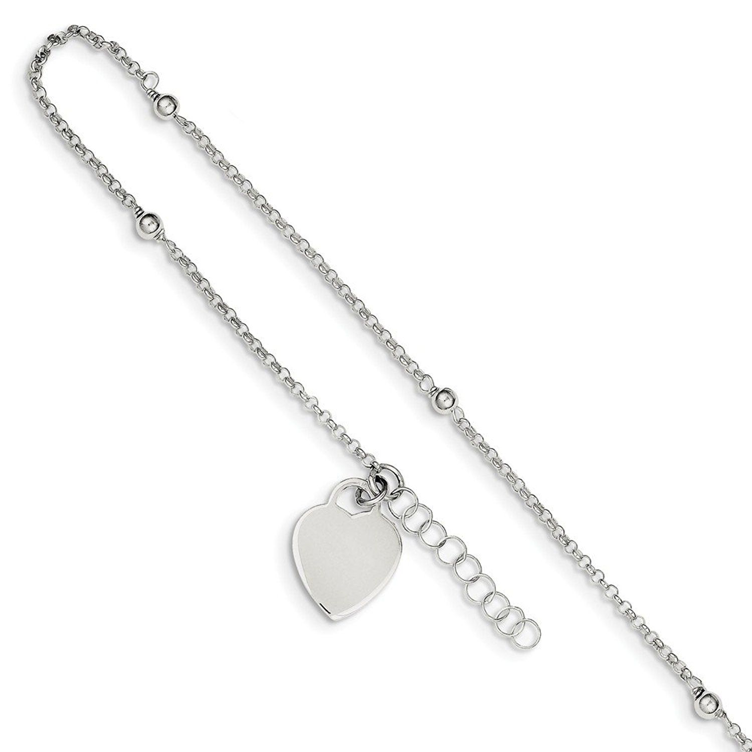 Ext Beautiful Sterling silver 925 sterling Sterling Silver Polished w//1in Fancy Link Anklet