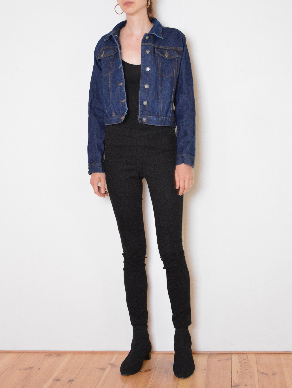 90 S Navy Blue Denim Jacket Cropped Dark Blue Jean Etsy Jean Jacket Women Blue Denim Jacket Denim Jacket [ 3000 x 2260 Pixel ]