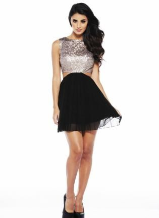 81749d9f98 Silver Sequin Cut Out Dress with Black Skirt