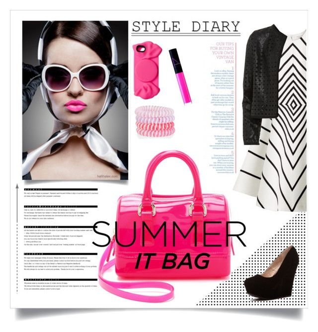 """""""Summer It Bag"""" by groove-muffin ❤ liked on Polyvore featuring Arche, Halston Heritage, Furla, Maglie I Blues, Accessorize, Marc by Marc Jacobs and NARS Cosmetics"""