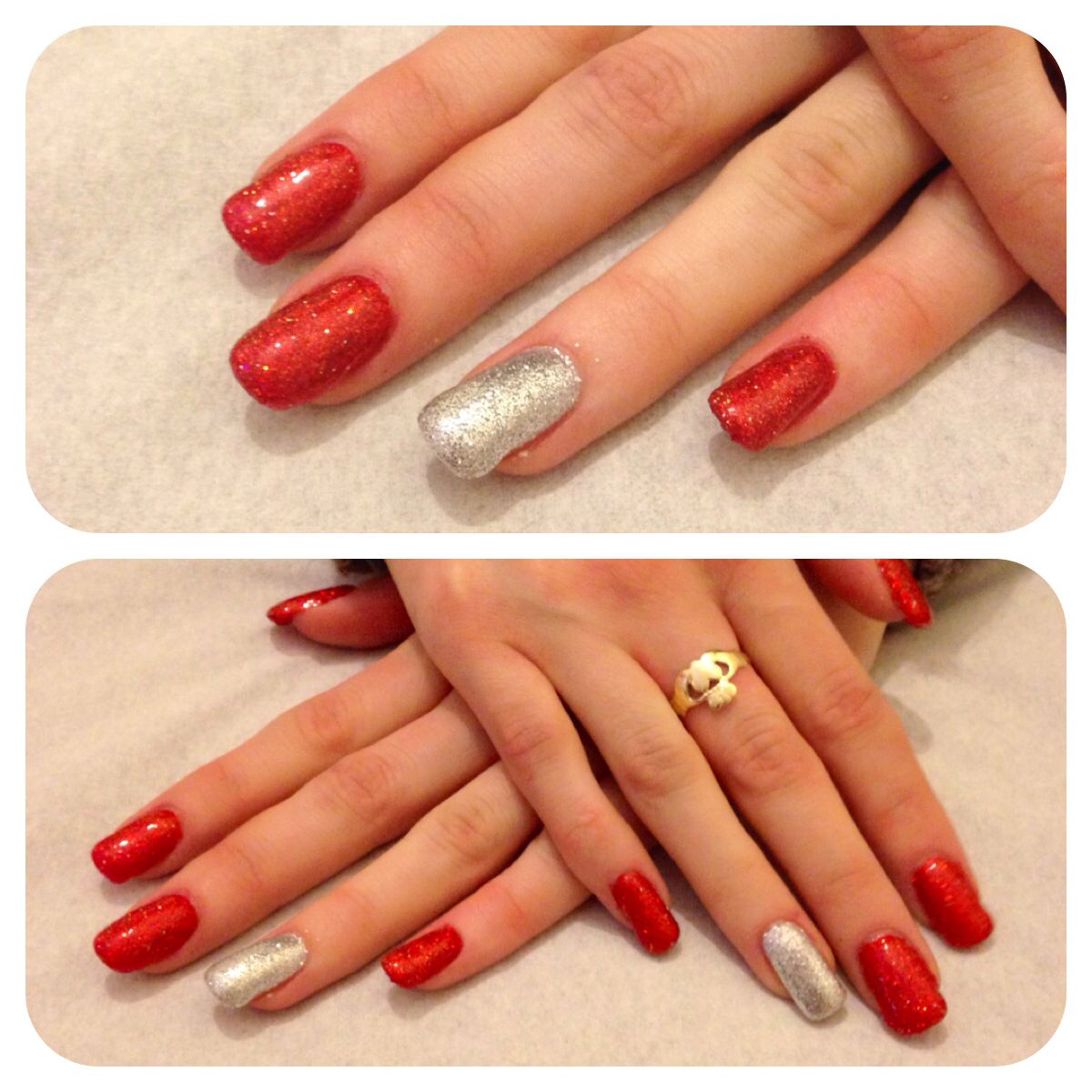 Red and silver glitter gel nails | Nails | Pinterest | Glitter gel ...