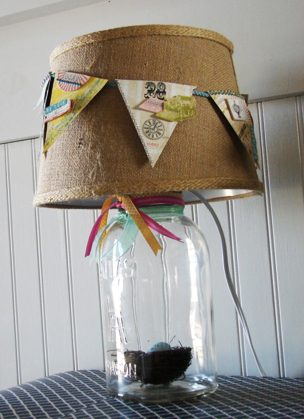 Spring Banner Lampshade Jar Crafts Mason Jar Crafts Homemade Lamps