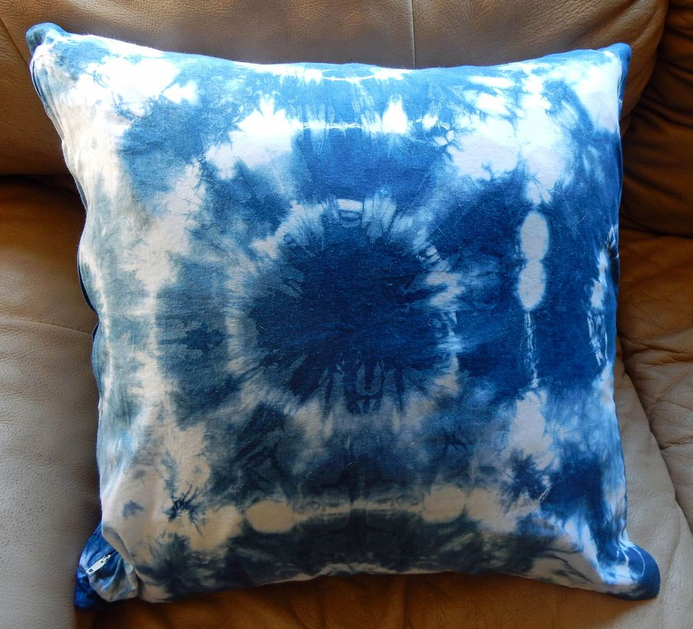 Tie Dye Shibori Throw Pillow Cover Hand Done Original 18x18 inch size-C. Smale #none
