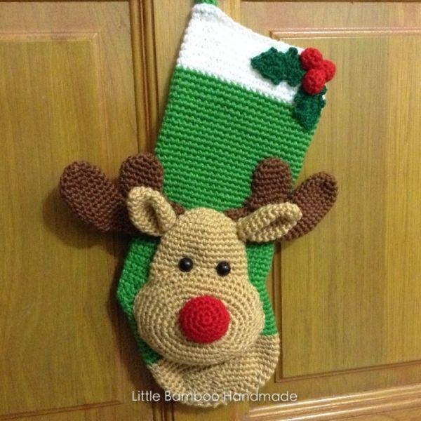 Reindeer Christmas Stocking crochet pattern by Little Bamboo ...