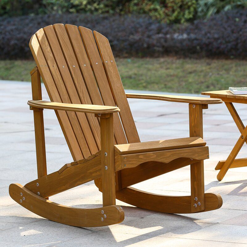Chartier Solid Wood Rocking Adirondack Chair in 2020