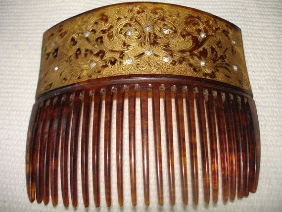Gold and Rhinestone decorated Hir Comb by dyllisforme on Etsy