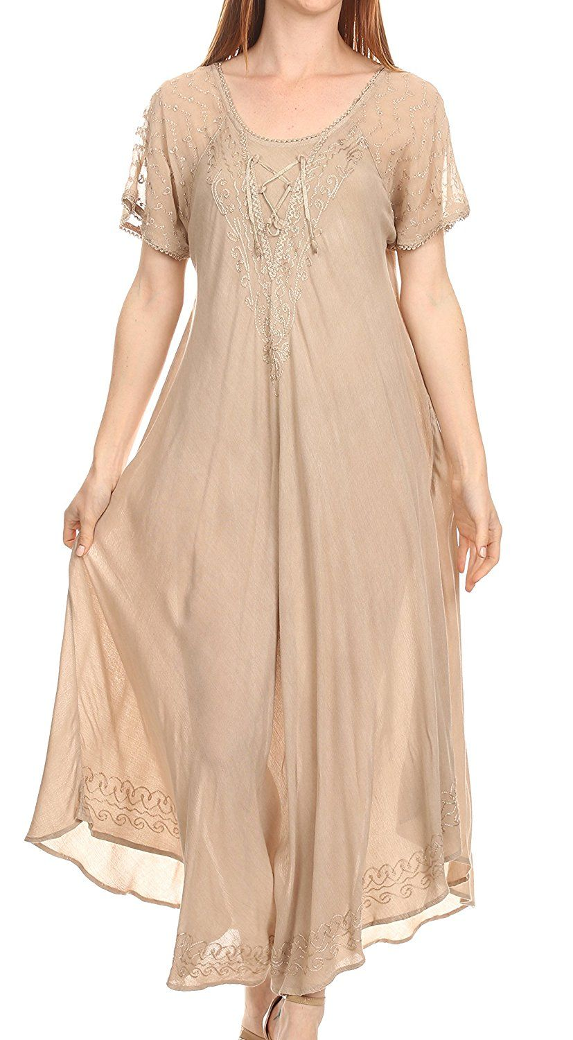 Sakkas shasta lace embroidered cap sleeves long caftan dress cover