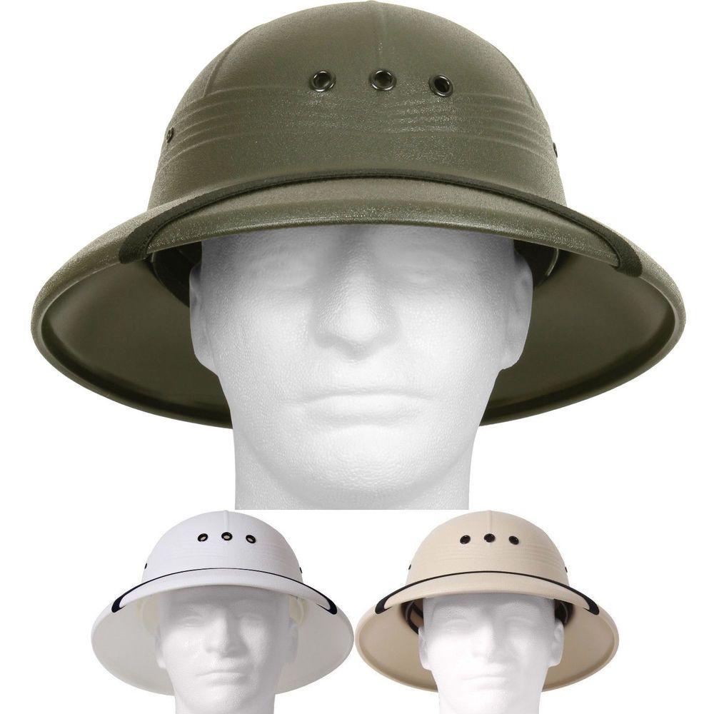 Pith Helmet Lightweight Safari Hat Sun Rain Plastic Vietnam Jungle Military  Type  Rothco  PithHelmet c713943cfe0