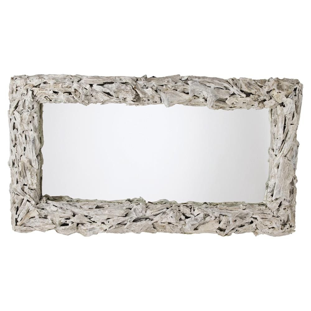 Arteriors Bodega Coastal Beach White Wash Driftwood Mirror Driftwood Mirror Wood Framed Mirror Eclectic Mirrors