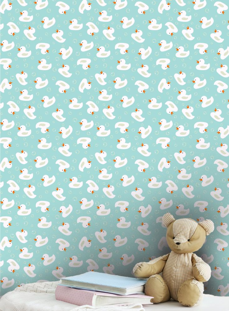 Cute Rubber Ducks Nursery Wallpaper Pattern In Cool Fresh Colours Perfect For A Babies