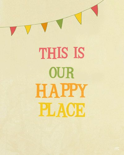 Happy positive art print with quote room decor , children playroom ...