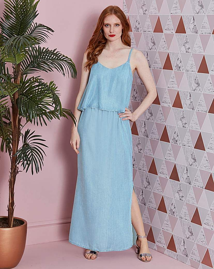 830182babd4a3 Soft Tencel Denim Layer Maxi Dress | Products | Denim, Summer ...