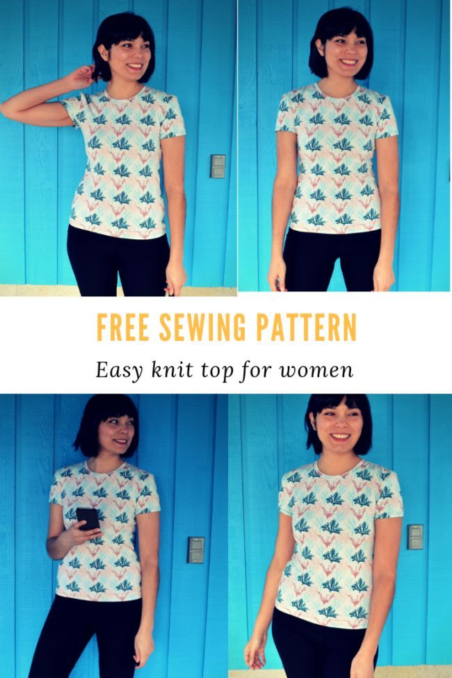 FREE PATTERN ALERT: Easy Knit t-shirt for women - On the Cutting Floor: Printable pdf sewing patterns and tutorials for women -   17 DIY Clothes For Women free pattern
