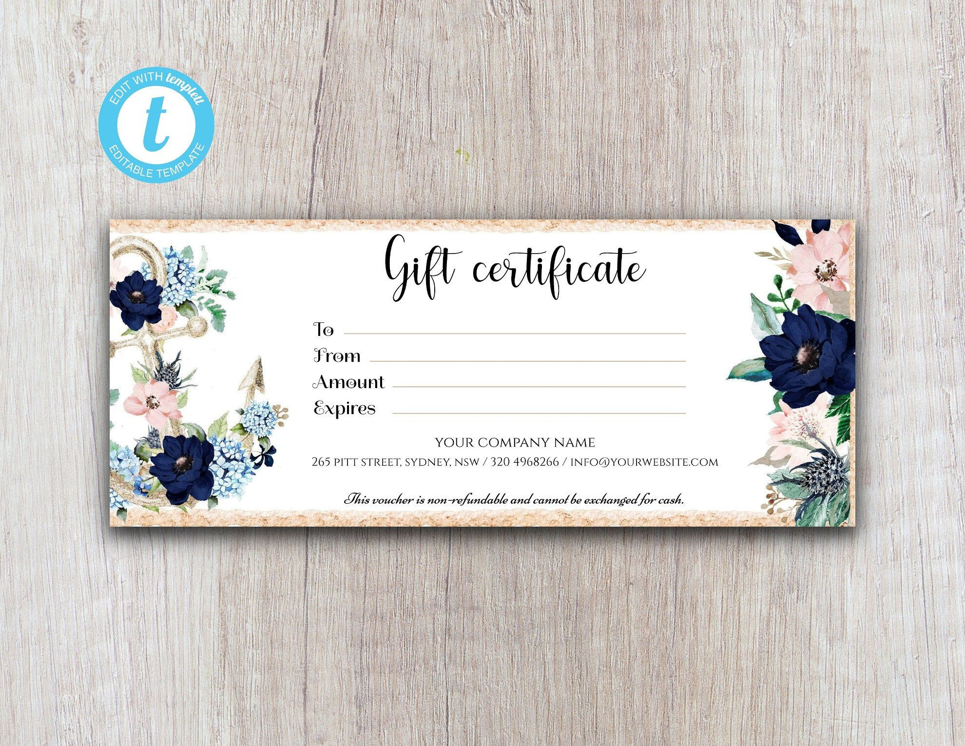 Nautical Floral Gift Certificate Template Printable Gift Certificate Editable Template Instant Download Gift Card Template Voucher Shop Printable Gift Certificate Gift Certificate Template Printable Gift