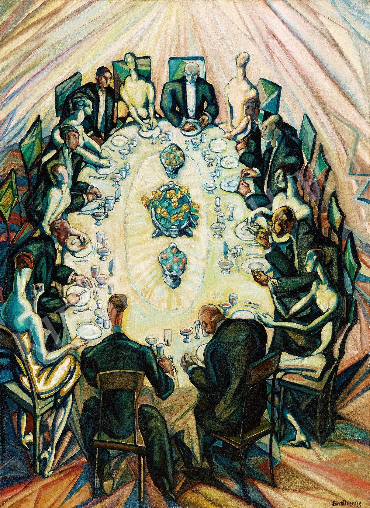 Batthyány Gyula Elegáns társaság (Társaság asztal körül