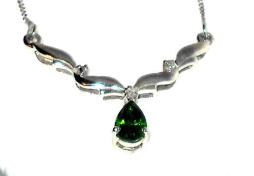 Russian chrome diopside necklace solitaire sterling silver chrome russian chrome diopside necklace solitaire sterling silver aloadofball Images