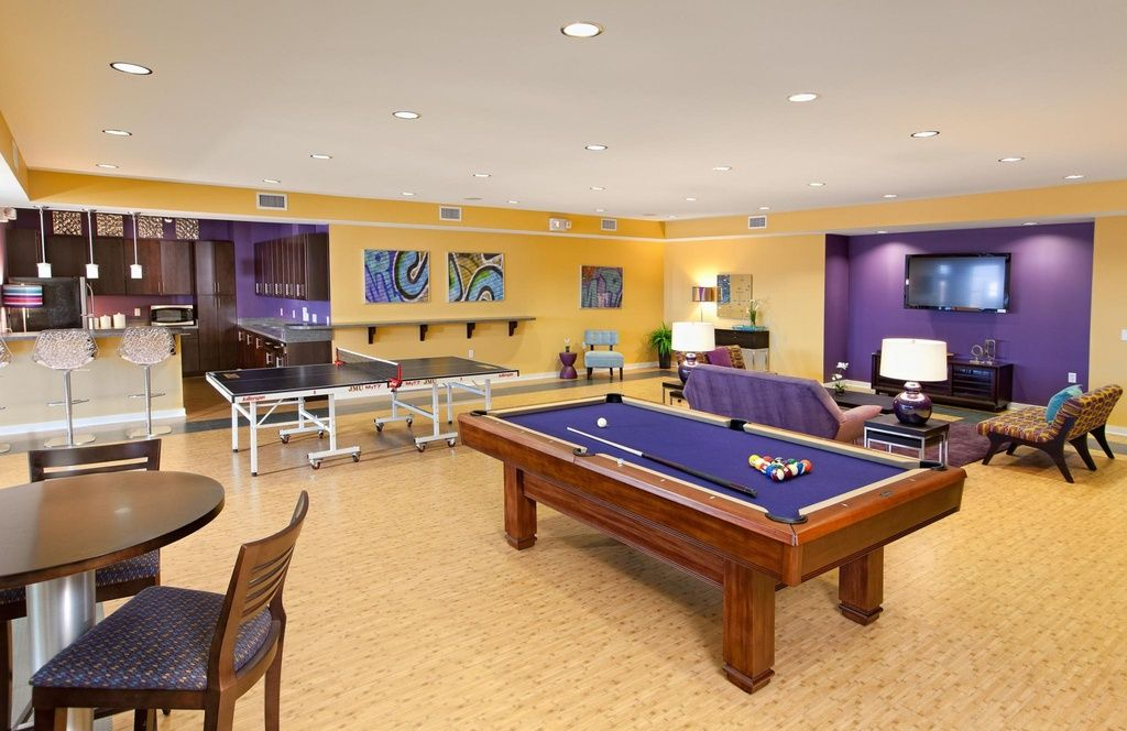 Eclectic Game Room with Joybird Furniture Hyland Sofa