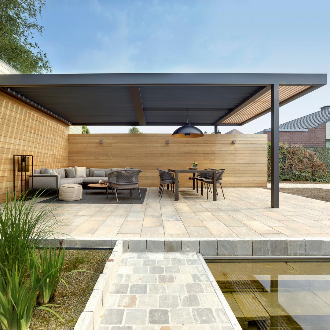 Iq Louvre Roof Iq Outdoor Living Outdoor Living Deck Backyard Design Layout Modern Backyard Design