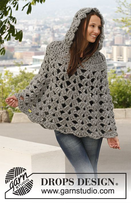 Raffinement / DROPS 140-44 - Crochet DROPS poncho with hood in 1 ...