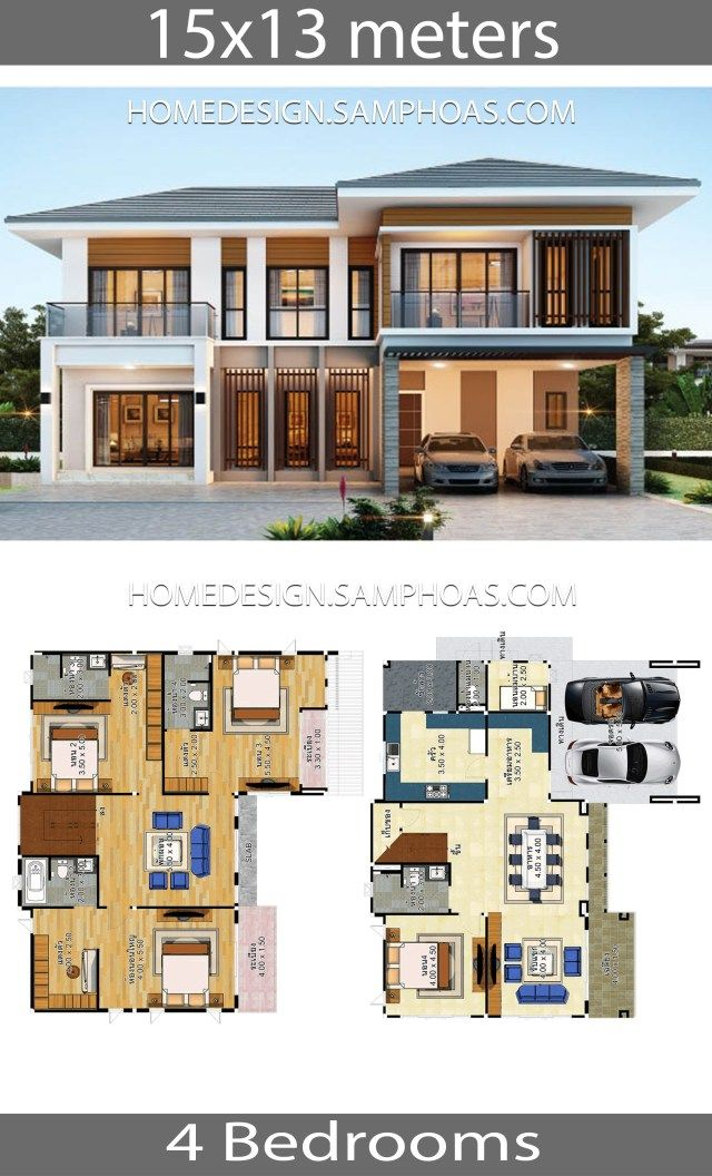 House Plans Idea 15x13 With 4 Bedrooms Home Ideassearch Beautiful House Plans Dream House Plans Simple House Design