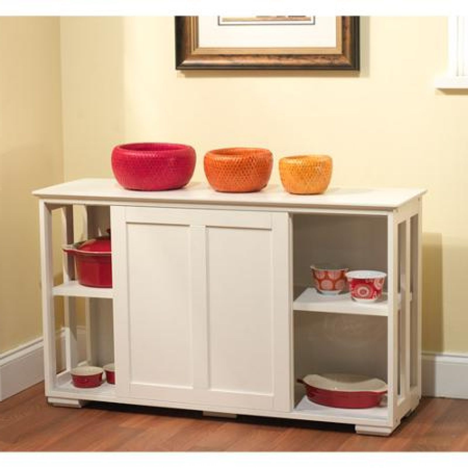 Click picture to enlarge   Wood storage cabinets, White ...
