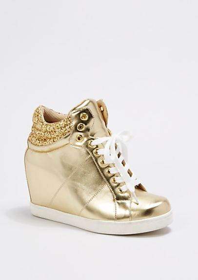 Gold Glitter Cuff Wedge Sneaker by Wild