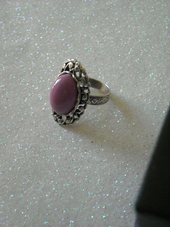 Lilac Purple Cabochon antique silver victorian by OctoberPetals, $15.75