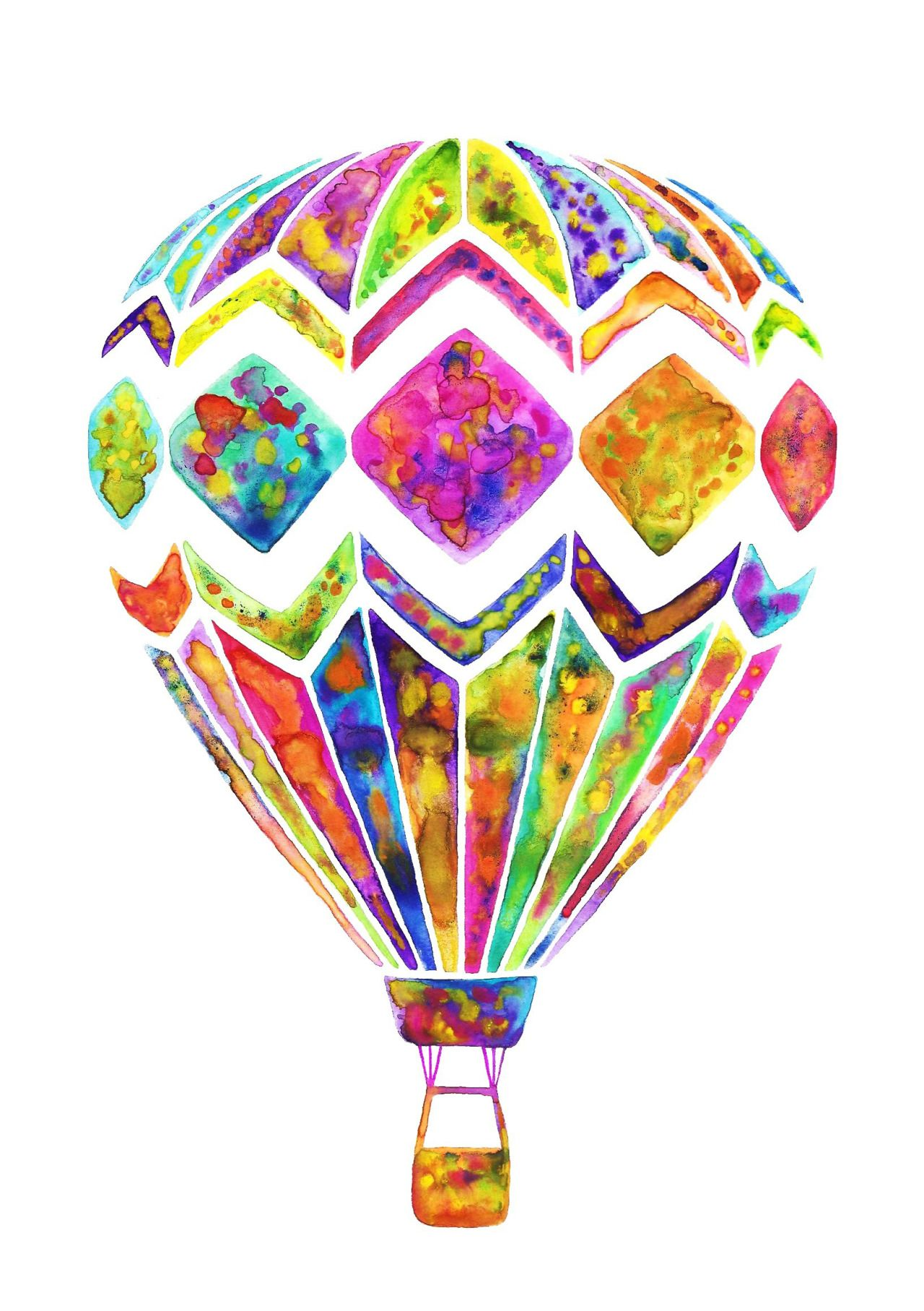 Jasmin Ekstrom Hot Air Balloon Watercolor Illustration Hot Air