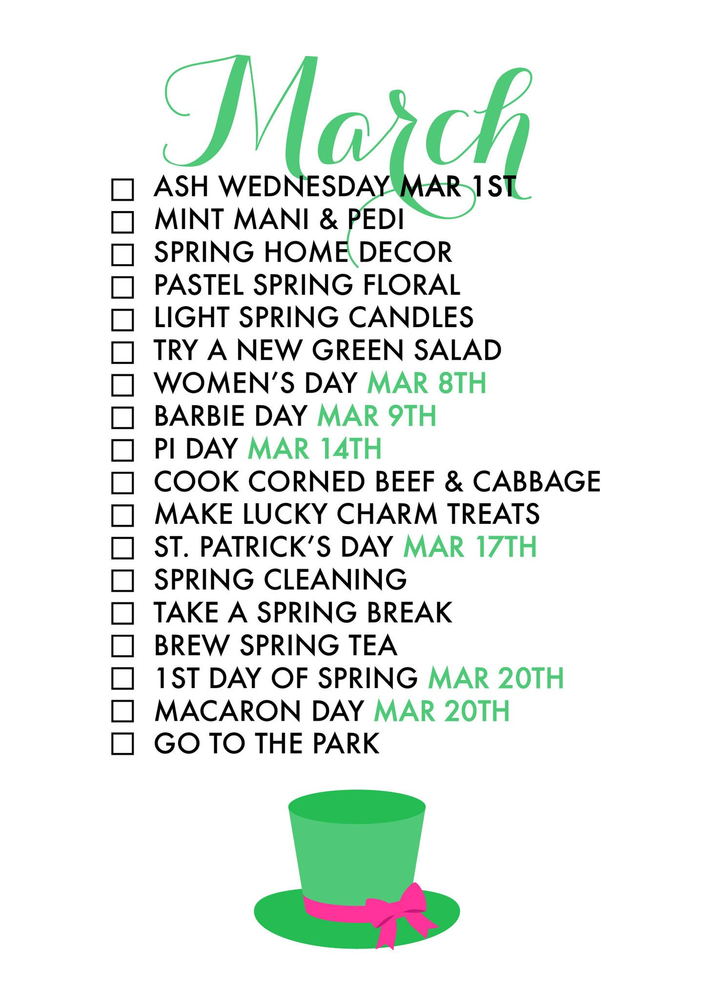 18 Reasons To Celebrate March! Amonthly life list helps uscelebrateeach seasonof the year and findjoyin every day!